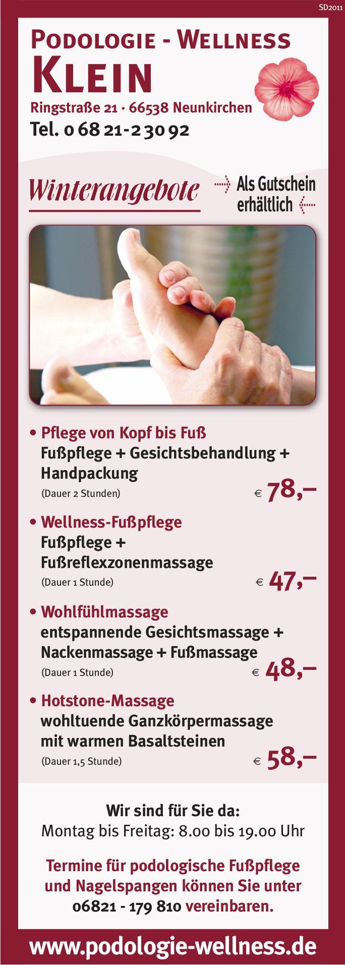 Winterangebote Podologie Wellness Klein